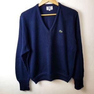 Vintage IZOD Lacoste Blue V Neck Pullover Sweater